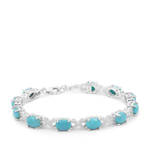 Sleeping Beauty Turquoise Bracelet with White Zircon in Sterling Silver 10.23cts