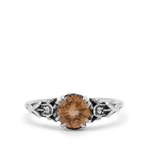 Imperial Garnet & White Zircon Sterling Silver Ring ATGW 1.77cts