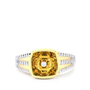 Lehrer TorusRing Champagne Quartz Ring with Diamond in 10K Gold 2.79cts
