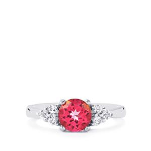Mystic Pink Topaz Ring with White Topaz in Sterling Silver 1.77cts