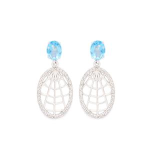 Blue Topaz Earrings with White Topaz in Rhodium Flash Sterling Silver 3.25cts