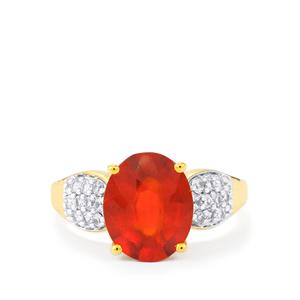 Hessonite Garnet & White Zircon Gold Vermeil Ring ATGW 4.55cts