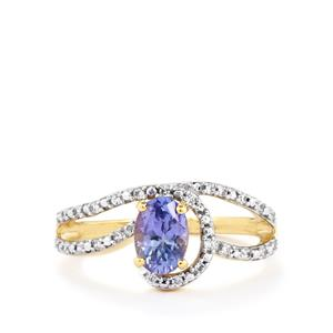Tanzanite Ring with White Zircon in 10k Gold 0.90cts