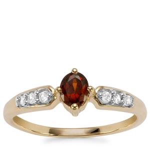 Burmese Red Spinel Ring with White Zircon in 10K Gold 0.55cts