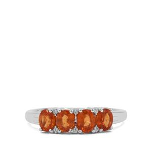 Mandarin Garnet & White Zircon Sterling Silver Ring ATGW 1.78cts
