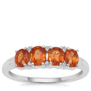 Mandarin Garnet Ring with White Zircon in Sterling Silver 1.78cts
