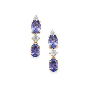 AA Tanzanite & Diamond 18K Gold Tomas Rae Earrings MTGW 2.65cts