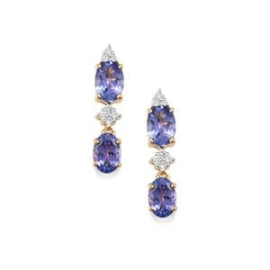 AA Tanzanite Earrings with Diamond in 18K Gold 2.65cts