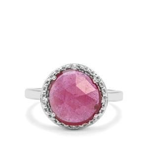 Malagasy Ruby & White Zircon Sterling Silver Ring ATGW 3.65cts (F)
