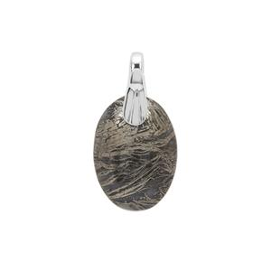 Feather Pyrite Pendant in Sterling Silver 20cts