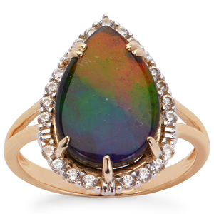 AA Ammolite (10x14.50mm) Ring with White Zircon in 9K Gold