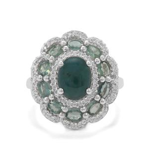 Grandidierite, Alexandrite & White Zircon Sterling Silver Ring ATGW 3.90cts