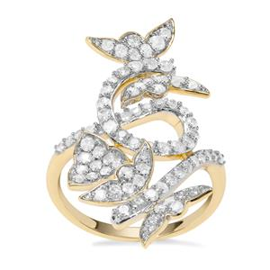 'The Mariposa Butterfly' Diamond Ring in 9K Gold 1ct