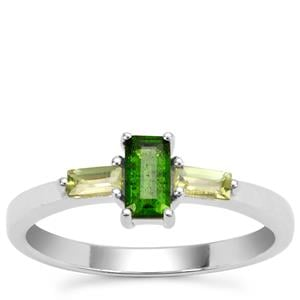 Chrome Diopside Ring with Red Dragon Peridot in Sterling Silver 0.66ct