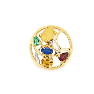 Harlequin Pendant with Diamond in 10k Gold 1.54cts