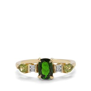 Chrome Diopside, Peridot & White Zircon 9K Gold Ring ATGW 1.40cts