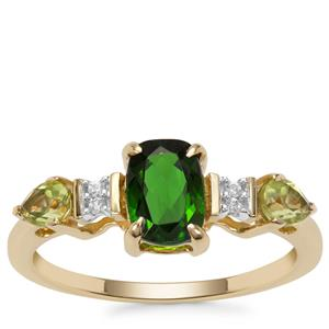 Chrome Diopside, Peridot Ring with White Zircon in 9K Gold 1.40cts