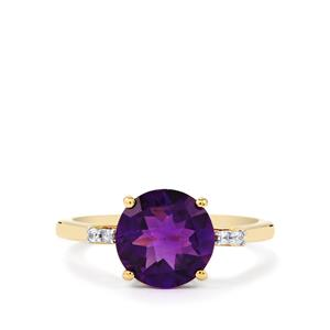 Zambian Amethyst Ring with White Zircon in 10k Gold 2.47cts