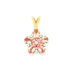Mozambique Pink Spinel Pendant with White Zircon in 10k Gold 1.30cts
