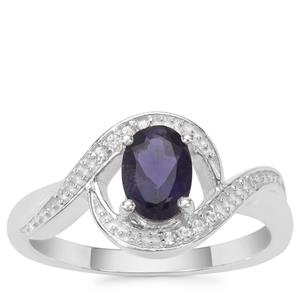 Bengal Iolite Ring with White Zircon in Sterling Silver 0.66ct