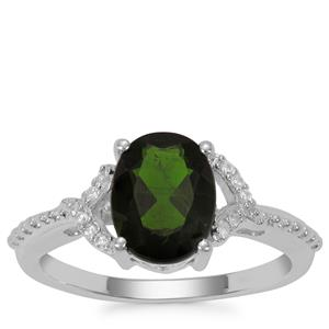Chrome Diopside Ring with White Zircon in Sterling Silver 2.11cts