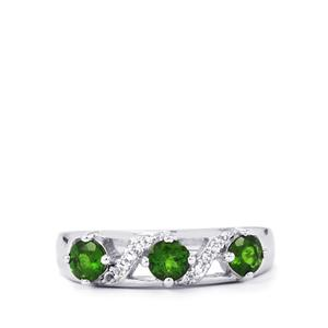 Chrome Diopside Ring with White Topaz in Sterling Silver 0.95ct