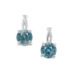 Ratanakiri Blue Zircon Earrings in Sterling Silver 1.45cts