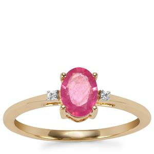 Pink Sapphire Ring with White Zircon in 9K Gold 0.97ct