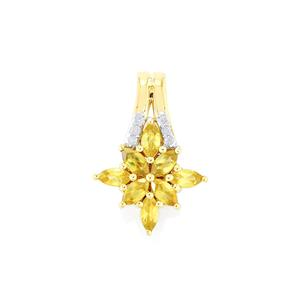 Ambilobe Sphene Pendant with Diamond in 9K Gold 0.74cts