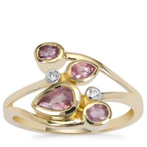 Padparadscha Sapphire Ring with White Zircon in 9K Gold 1cts
