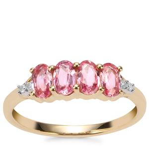 Sakaraha Pink Sapphire Ring with Diamond in 9K Gold 1.21cts