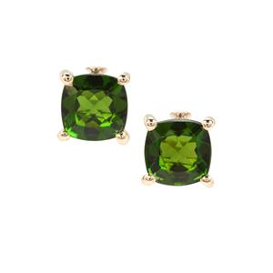 1.26ct Chrome Diopside 9K Gold Earrings