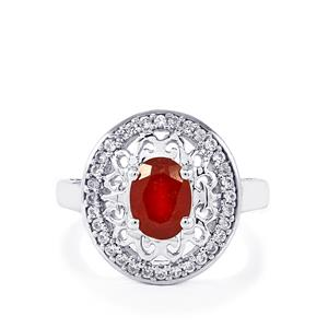Malagasy Ruby & White Zircon Sterling Silver Ring ATGW 2.31cts (F)