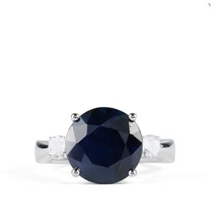Madagascan Blue Sapphire Ring with White Topaz in Sterling Silver 7.63cts