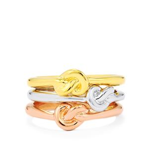 Set of 3 Twisted Rings in Sterling Silver