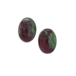 Ruby-Zoisite  Earrings in Sterling Silver 14.05cts