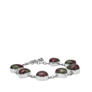 55.04ct Ruby-Zoisite Sterling Silver Aryonna Bracelet
