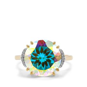 Mercury Mystic Topaz Ring with Diamond in 9K Gold 7.63cts