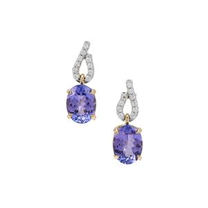 AA Tanzanite Earrings with White Zircon in 9K Gold 3.55cts