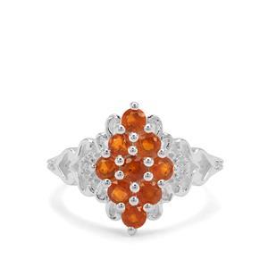Loliondo Orange Kyanite & White Zircon Sterling Silver Ring ATGW 1.51cts