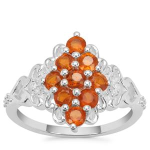 Loliondo Orange Kyanite Ring with White Zircon in Sterling Silver 1.51cts