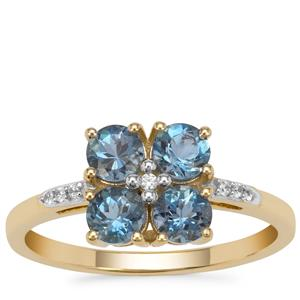Nigerian Aquamarine Ring with White Zircon in 9K Gold 1cts