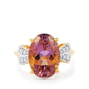 Anahi Ametrine Ring with White Diamond in 14k Gold 5.92cts