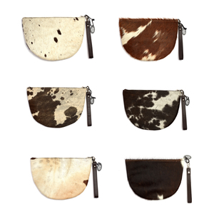 Genuine Cow Hide Leather Wistlet Clutch Handbag - Patterns & Colours will vary