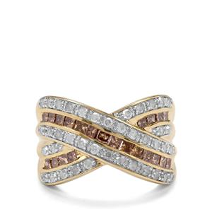 1.45ct Champagne & White Diamond 9K Gold Tomas Rae Ring