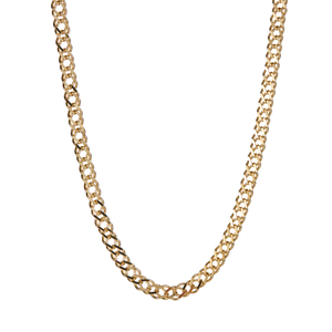 "22"" 9K Gold Classico Diamond Cut Double Curb Chain 9.36g"