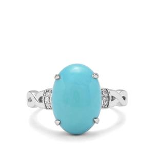 Sleeping Beauty Turquoise & Diamond Sterling Silver Ring ATGW 4.93cts