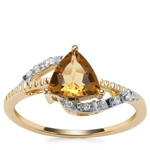 Mansa Beryl Ring with Diamond in 9K Gold 0.96ct