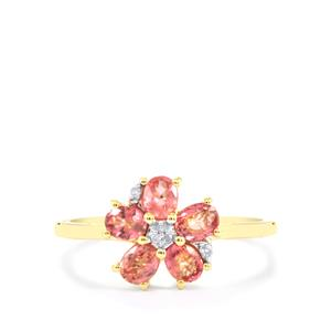Padparadscha Sapphire Ring with Diamond in 10k Gold 1.12cts