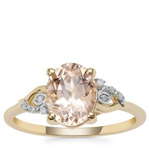 Rose Danburite Ring with Diamond in 9K Gold 1.83cts